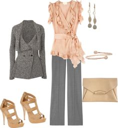 """gray/pink"" by yiannab on Polyvore"