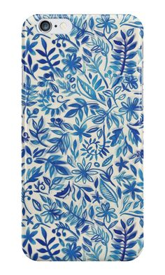 """""""Floating Garden - a watercolor pattern in blue"""" iPhone Cases & Skins by micklyn 