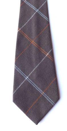 Vintage 1970s Craigmill Wool Neck Tie Brown, Orange, Blue, Multi Plaid  FREE P&P #Craigmill #NeckTie