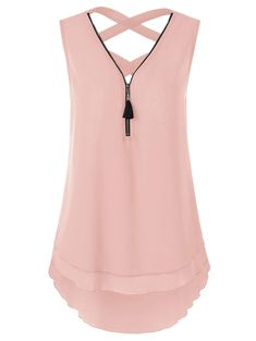 Criss Cross Layered High Low Tank Top - Tank Tops - Ideas of Tank Tops - Look Fashion, Fashion Outfits, Womens Fashion, Fashion Site, Top Light, Stitch Fix Outfits, Cute Tops, Fashion Prints, Cute Outfits