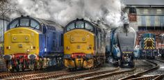 'On its way': A4 Class steam locomotive 'Bittern' Barrow Hill near Chesterfield in Derbyshire, UK.