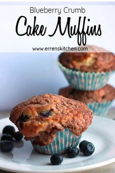 This easy recipe for Blueberry Crumb Cake Muffins is the best, why buy store brought when you can make homemade, bursting with fruity flavor and topped with Crumb Topping, you will wonder why you haven't made these before. #ErrensKitchen #baking #desserttime