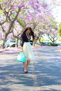 StylishPetite.com | Polka Dot Tulle Skirt and Navy