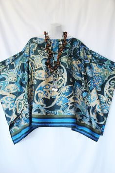 Beautiful Polysilk Paisley Kaftan Top by Molly by MollyKaftans