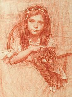 Girl and cat... by Christine de Oliveira.   A young girl with her cat on her lap looking whistful.