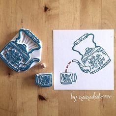 #RubberStamp via : Instagram @mamalaterre [for more rubber stamps ideas @iamlookkaew] Stempel schnitzen mit Radiergummis