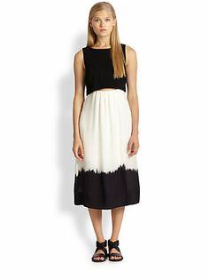 A.L.C. - Davis Printed Layered-Effect Cutout Dress - Saks.com