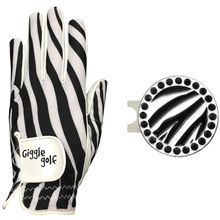 The Zebra Glove Pack has a Zebra Golf Glove with your choice of a Bling Zebra Ball Marker & Standard Hat Clip OR Bling Zebra Ball Marker Necklace. Comes in a cute little mesh bag.