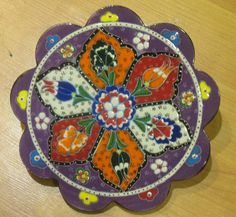 Hand made tile ceramic Pottery trivet for hot pots decoration or tea pots _ n 9