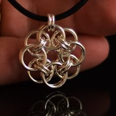 Pendant- Chain Maille Helm Flower by Xiztance on Etsy