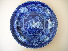 Antique 19th Century English Transferware Dark Blue by Modernaire