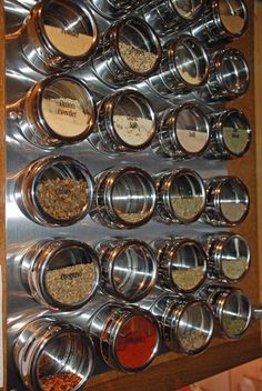 If you're trying to find a good way to saving space in an RV Camper, magnetic rack is the answer. Because with this best hacks ideas you can put kitchen spices nicely and possible to make space for some other objects on limited RV Camper space. Spice Storage, Spice Organization, Organizing, Boat Storage, Spice Containers, Spice Jars, Kitchen Pantry, Kitchen Decor, Kitchen Canisters
