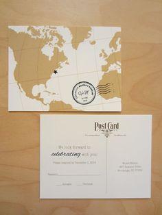 Traveler Wedding Invitation Ensemble by EnvisionWedding on Etsy, $2.95