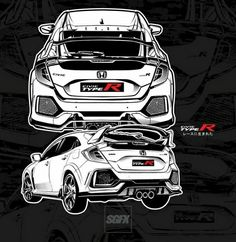Honda Civic Coupe, Honda Civic Hatchback, Honda Civic Type R, Honda Sports Car, Honda Cars, Jdm Wallpaper, Lux Cars, Car Logos, Car Sketch