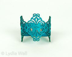 """Laser Cut Leather Bracelet """"Spirals"""" in Turquoise"""