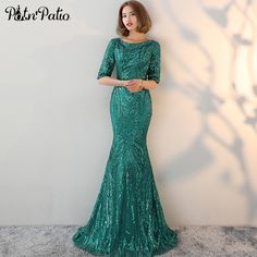 45813cd1d2 PotN Patio Half Sleeves Green Evening Dresses Long O-neck Backless Sequin  Mermaid Prom