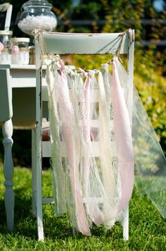"""Chair """"cover"""": rope (tie to back of chairs), dream catchers? ribbon, tool, lace, boho combo"""