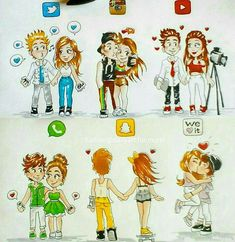 """""""Social media couples"""" who's your favorite! By @laurene.artist - - Follow…"""