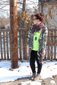 black skinnies, ankle boots, neon top, tribal/western open cardigan, scarf