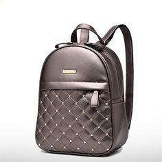 f49f5d8913819 Lekki plecak damski Moda Nit Wystrój tornister dla studentki Kobieta torba  na ramię PU skórzane plecaki