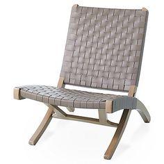 Safari Folding Chair, Gray Leather | Global Views