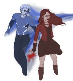 Beautiful Scarlet Witch and Quicksilver fanart