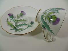 Roslyn Queen O' TH Highlands Fine Bone China Purple Thistle Cup Saucer | eBay