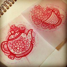 Tea Cup Pot Tattoo Sketch