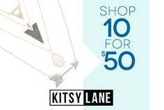 WOW! You Cannot Go Wrong with this #INCREDIBLE #SALE! SHOP 10 FOR $50 Use code TENFIFTY SALE ENDS 07/28 We're cleaning our closets so that you can stock up your jewelry boxes. Shop this amazing sale while it lasts! Valid on sale items only through 7/28/14 11:59 PM ET. Enter TENFIFTY at checkout. Not combinable with other discounts or credits. Prior purchases excluded.  http://journeyaccessories.kitsylane.com/  #women's #fashion,#accessories,#jewelry,#necklaces,#bracelets,#rings,