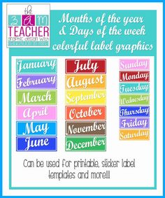 Months of the Year & Days of the Week Colorful by The3AMTeacher