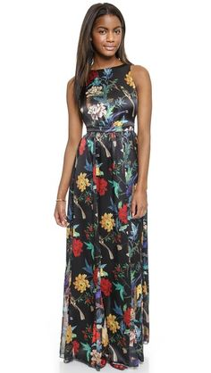 Love this floral on black, is interesting but doesn't steal the show! Perfect for formal weddings and parties! ( alice + olivia Elis Maxi Dress)