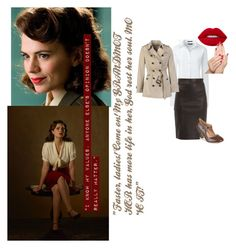 """Agent Peggy Carter"" by youngvolcanoes2002 on Polyvore featuring Atwell, Lands' End, Dagmar, Journee Collection, Burberry and Piggy Paint"