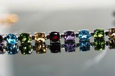 Brand New 30.00 Carat Cushion-Cut Premium Graded Multi- Gemstone Necklace All in Heavy Sterling. Impeccably Crafted.