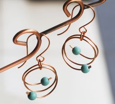 Roll N Roll Blue Turquoise Bead Copper Wire Wrap Unique Round Earrings