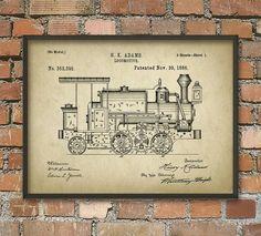 Locomotive Patent Print - Train Wall Art Poster 2 - Vintage Steam Locomotive - Railroad Art Print - Railway Home Decor  This patent poster is