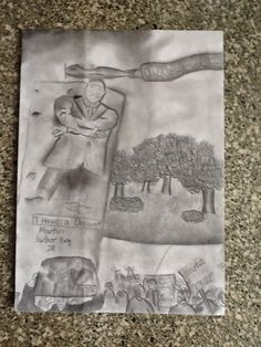 The newly erected monument in honor of Dr. King drawn by a junior high youth.