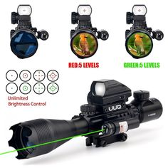 UUQ 4-16x50EG AR15 Tactical Rifle Scope Red/Green Illuminated Range Finder Reticle W/ Green Laser and Multi Optical Coated Holographic Dot Sight (12 Month Guarantee))