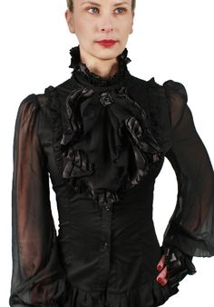 Blouse with Jabot This beautiful blouse lends an unique look to every noble woman on a LARP or Retro Party. The collar is also included in the delivery andis decorated with a nice brooch, which can be detached at will. To put...