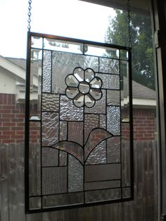 """Stained Glass Window Panel """"Bevel Bloom"""""""