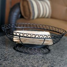 Camden Bread Basket - Wrought iron loops elevate the standard bread basket and make this table accessory perfect for everyday use and formal occasions alike.