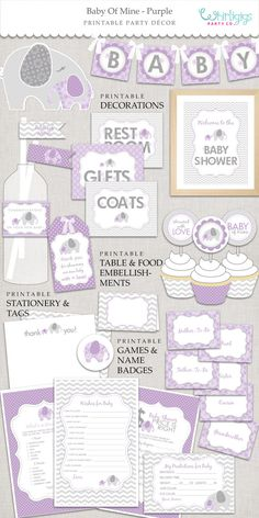 purple elephant baby shower lavender and by