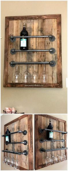 Easiest and Cheap Shipping Wood Pallet Repurposing Ideas Pallet and Pipes Wine Rack Wine Bottle Rack, Wine Glass Rack, Wine Racks, Wine Bottles, Diy Pallet Projects, Wood Projects, Woodworking Projects, Pallet Ideas, Wood Pallet Furniture