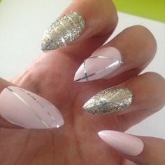 24 Set of Stiletto False Nails Gold/Silver/Pink by NailEmporium