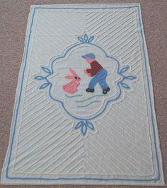 FLUFFY Vintage 40's Boy & Bunny Rabbit Chenille Crib Bedspread ~GREAT CONDITION!