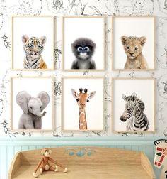 Baby Safari Animals Set of 6 Printable Art - Baby Safari Animals Set of 6 Printable Art Safari Animal Prints – Nursery baby animal art from - Baby Room Boy, Baby Bedroom, Baby Room Decor, Nursery Decor, Nursery Ideas, Safari Nursery Themes, Jungle Theme Nursery, Nursery Room, Nursery Pictures