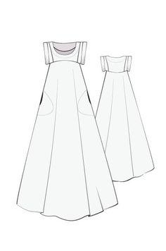 Celestial maxi dress, Linen, sewing pattern, pattern fantastique.