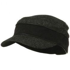 Infinity Wool Blend Army Cap - Black