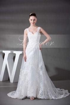 Gorgeous A-Line Chapel Train Spaghetti Straps White Organza Lace with Beading Wedding Dress