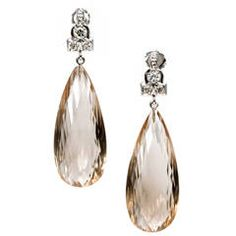 Briolette Smoky Quartz Diamond Gold Dangle Earrings
