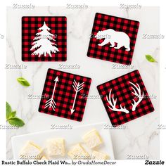 Shop Rustic Buffalo Check Plaid Woodland Adventure Coaster Set created by GrudaHomeDecor. Diy Crafts For Adults, Diy Crafts To Sell, Handmade Crafts, Handmade Decorations, Rustic Coasters, Diy Coasters, Coaster Crafts, Christmas Coasters, Christmas Crafts